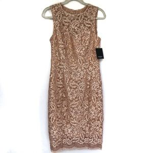 Marina Blush Colored Lace and Sequined Dress